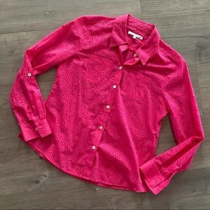 Foxcroft Hot Pink Floral Sheer Button Down